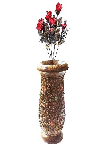 Amazon Valentine Day Special Gift Wooden Flower Vase Brass