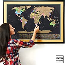 "TRAVELIZATION SCRATCH OFF MAP OF THE WORLD XL | #1 Premium Quality 35x23½"" World Map Poster w/ US States and Country Flags 