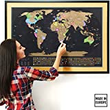 """Scratch Off Map of The World XL - The Only Premium Quality Large 35x23½"""" Scratch Off World Map Poster with US States and Country Flags. Deluxe Travel Map, Perfect Gift for Travelers by Travelization"""