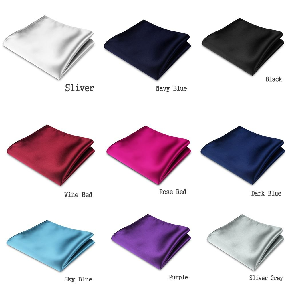 0a053859c63bb 9 Pcs Mens Satin Solid Plain Color Handkerchief Hanky Pocket Square for  Wedding Party: Amazon.ca: Clothing & Accessories