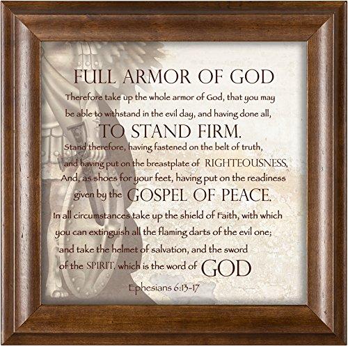 Elanze Designs Full Armor of God Ephesians 6:13-17 Verona Mocha Wood Finish 12 x 12 Framed Art Wall Plaque