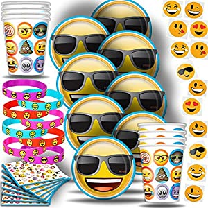 Emoji Party for 8: Plates, Cups, Napkins, Bracelets, and 144 Tattoos