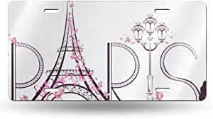 Floral French Paris Eiffel Tower Butterfly Metal License Plate Tag Aluminum Car Decor Cover for Woman Man, 12