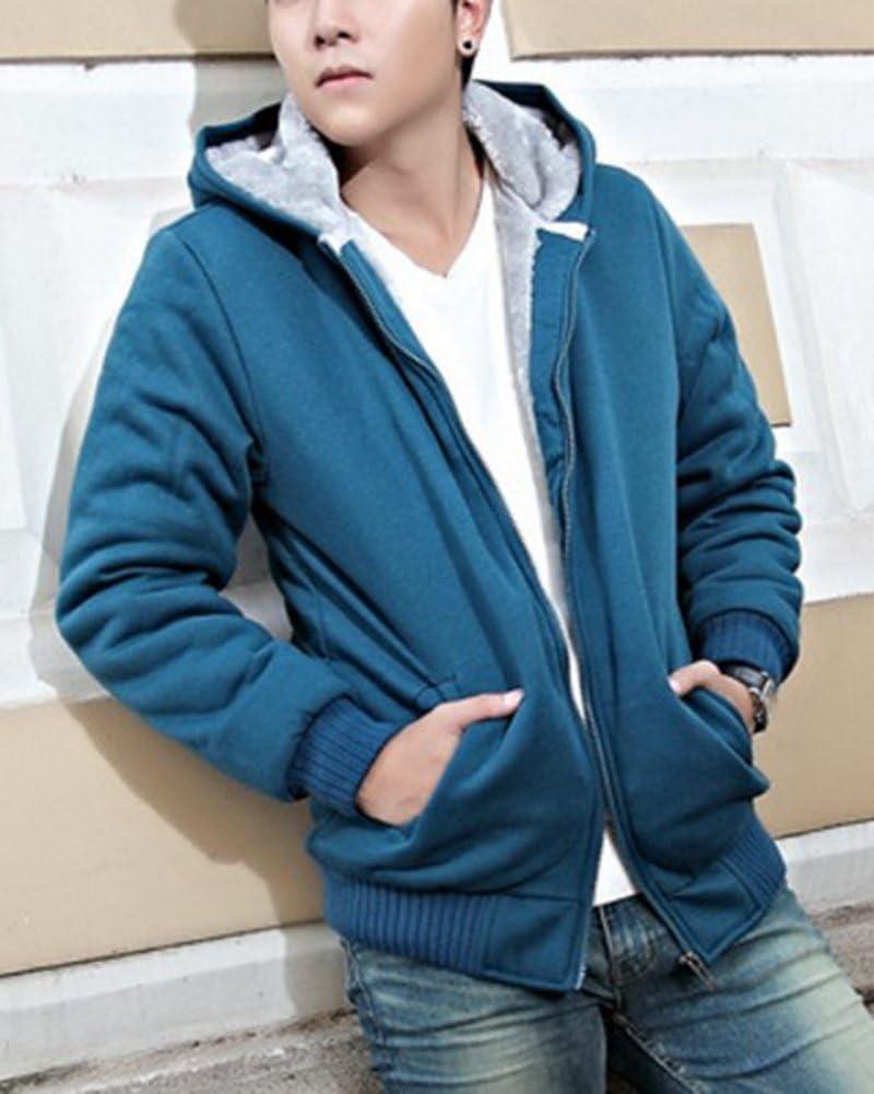 Yonglan Hombre Invierno Calentar Vell/ón Forrado Sudaderas con Capucha Algod/ón Abrigos Suave Chaquetas Outwear Tops