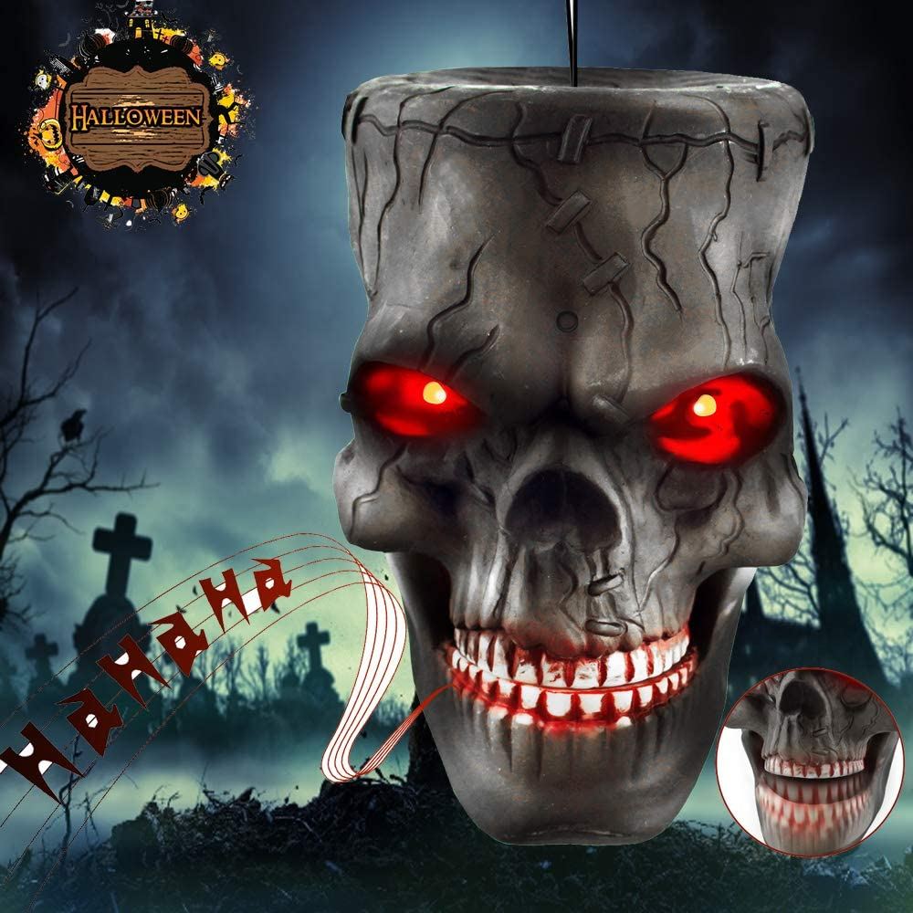 Halloween Decoration Indoor Outdoor Hanging Skull Head Zombie Head Props with Glowing Eyes & Scary Sounds & Biting Mouth Sensor Voice Control for Yard Home Party Decor