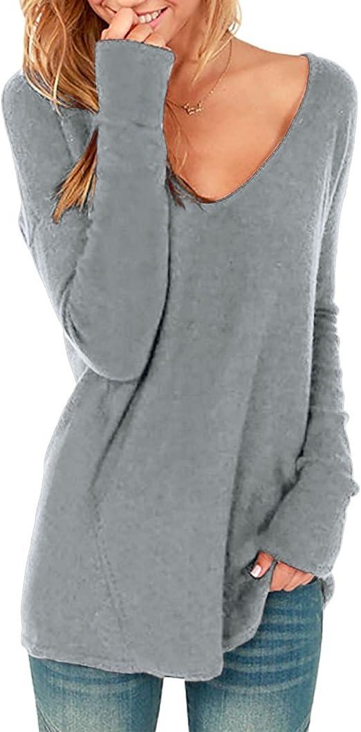Style Dome Donna Maglioni Top Maglie Donna Manica Lunga Collo V T-Shirt Camicia Vestito Maglia Taglie Comode Maglietta Loose Bluse Nero S
