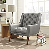 Modway EEI-2307-GRY Peruse Upholstered Fabric Modern Tufted Accent Arm Chair with Nailhead Trim Faux Leather Gray
