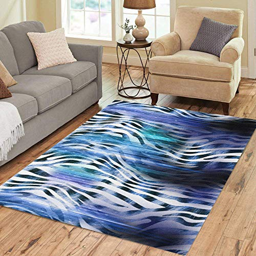 Colorful Blue Leopard - Pinbeam Area Rug Colorful Africa of Leopard Zebra Pattern Animal Blue Home Decor Floor Rug 3' x 5' Carpet