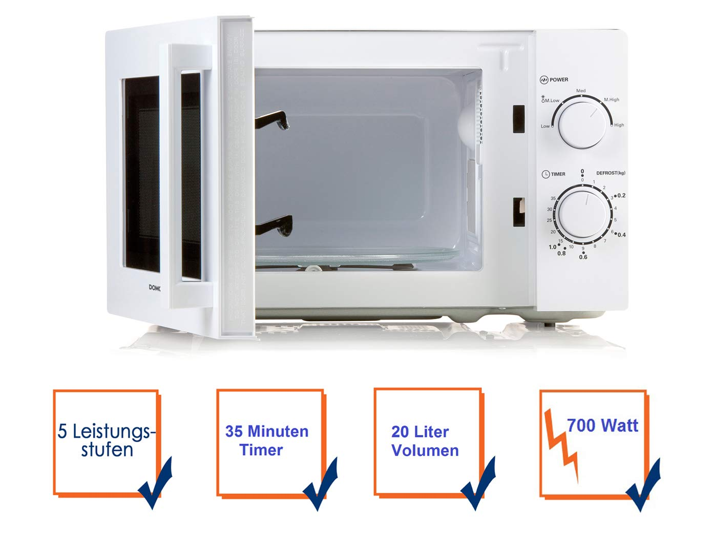 Drehteller Starter-Set Mikrowelle mit Timer starke 700W und 5 ...