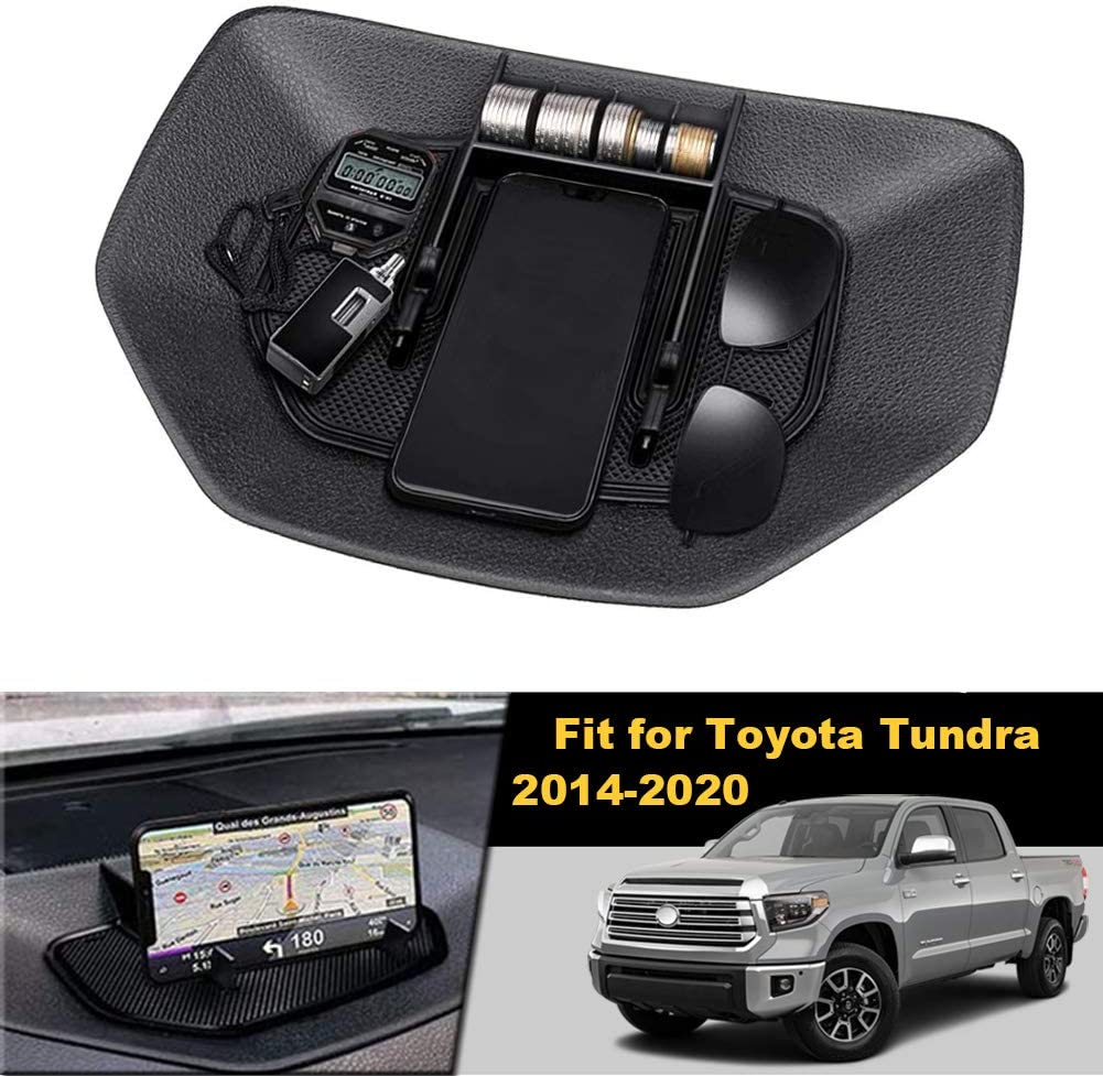 Dashboard Instrument Organizer Multi-Function Phone Holder Cradle,Black Dash Center Console Table Storage Tray Compatible with Toyota Tundra 2014-2020