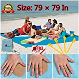 Sand Free Beach Mat Blanket Sand Proof Magic Sandless Sand Dirt & Dust Disappear Fast Dry Easy to Clean Waterproof Rug Avoid Sand Dirt Grass Keep Everything Clean Perfect