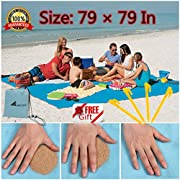 Abeter Sand Free Beach Mat Blanket (79 ×79 ) Sand Proof Magic Sandless Sand Dirt & Dust Disappear Fast Dry Easy to Clean Waterproof Rug Avoid Sand Dirt And Grass Keep Everything Clean And Perfect