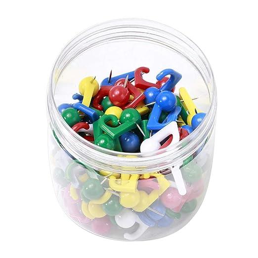 Healifty 100 piezas de tachuelas de plástico colorido gancho ...