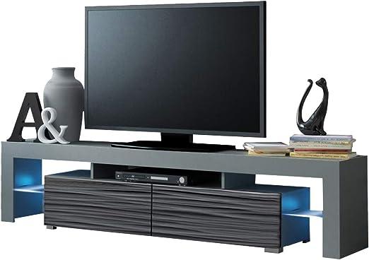 MEBLE FURNITURE & RUGS Mueble de TV Solo 200 Moderno con LED para ...