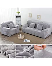 Yeahmart Thick Sofa Covers 1/2/3 Seater Pure Color Sofa Protector Velvet Easy Fit Elastic Fabric Stretch Couch Slipcover (Silver Grey, 3 Seater 195-230cm)