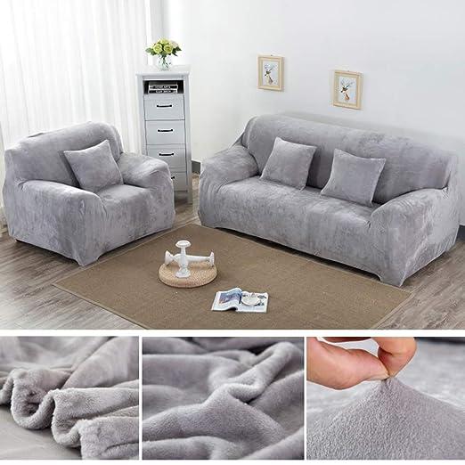 Yeahmart Fundas de sofá Gruesas de 1/2/3/4 plazas, Color Puro, Terciopelo, fácil de Ajustar, Tejido elástico, Funda de sofá, Plateado, 1 ...