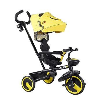 Carro de bebé Plegable Niño 3 Ruedas Rueda de adhesión de Titanio Rueda 4 en 1 Triciclo para niños Asiento Giratorio para niños Cochecitos para niños ...