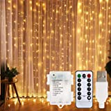 LED Curtain Lights, USB & Battery Powered LED Icicle Lights, 300 LEDs, 9.8ft x 9.8ft with 8 Modes Remote Controller for…