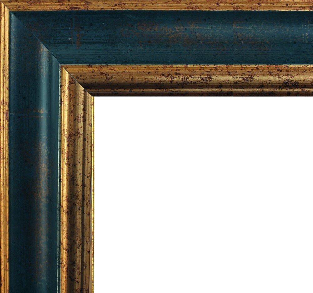 Charleston Massivholzrahmen Barock Prunk Decor 30 x 25 cm, Bilderrahmen in hochwertig patinierter Cottage-Optik mit goldfarbigem Innenkanten-Trimming 25 x 30 cm, Farbe  Blau-gold mit Antireflex-Acrylglas 1mm
