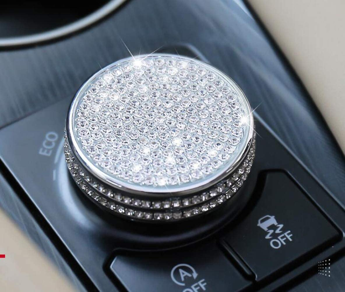 NIUHURU Car Interior Trim Bling Accessories Variable Speed ECO Push Normal Sport knob Rhinestone Decals Cover fit for Lexus ES GS is RC NX RX 2012-2018 Silver, RX NX