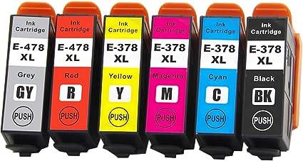 Multipack B,C,M,Y 6 X Tintenpatronen Nicht-Oem Alternative Für Epson 378XL