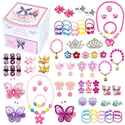 Elesa Miracle Little Girl Kids Wood Jewelry Box and 75 Pieces Girl Princess Jewelry Dress Up Accessories Toy Playset Set -