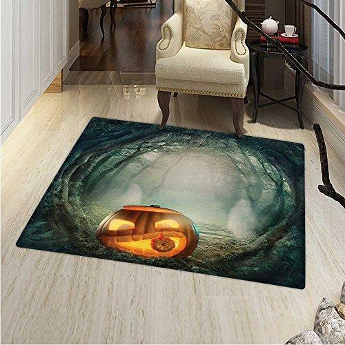 Halloween Floor Mat Pattern Drawing of Scary Halloween Pumpkin Enchanted Forest Mystic Twilight Party Art Living Dinning Room & Bedroom Rugs 55