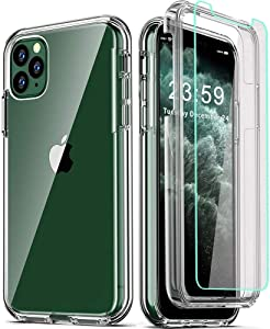 COOLQO Compatible with iPhone 11 Pro Max Case, and [2 x Tempered Glass Screen Protector] Clear 360 Full Body Coverage Hard PC+Soft Silicone TPU 3in1 Shockproof Protective Phone Cover