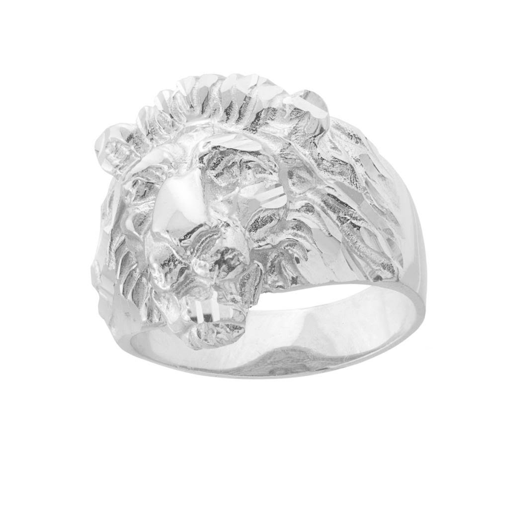 Fine 10k White Gold Textured Band Lion Head Ring for Men (Size 13)