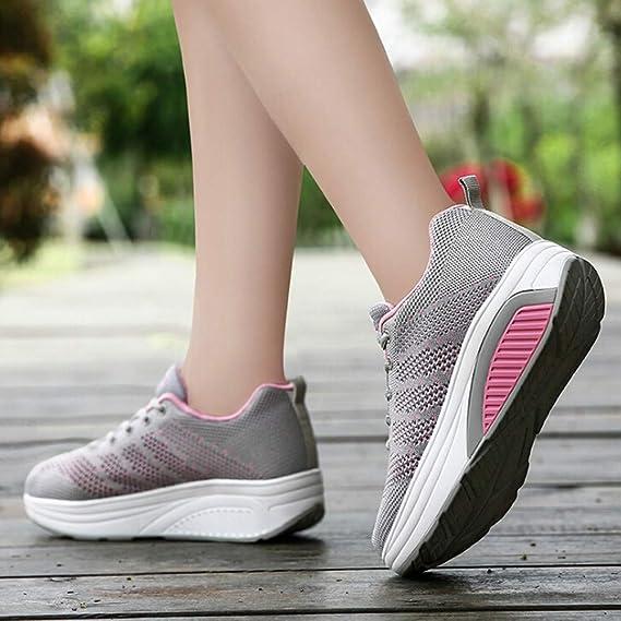 79a5547e1 Mujer Adelgazar Zapatos Sneakers para Caminar ZARLLE Mujeres Primavera  Otoño Moda Transpirable con Cordones Zapatos De Balancín Zapatos Deportivos  ...