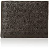 Armani Jeans Men's All Over Logo Pu Bifold Wallet With Coin Pocket, brown, ONE SIZE
