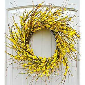 Handmade Yellow Forsythia Wreath in 20-22 Inch Diameter for Front Door-Mother's Day, Easter, Spring 112