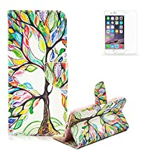 Sony Xperia Z3 Compact/Mini Case [with Free Screen Protector], Funyye Elegant Premium Folio PU Leather Wallet Magnetic Closure with Stand Function Book Style Built-in Magnet Flip Credit Card Holder Slots Ultra Slim Thin Stylish Colored Drawing Patterns Case Cover for Sony Xperia Z3 Compact/Mini - Painting Tree