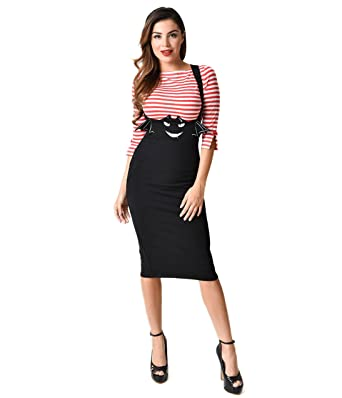 dedfdde8c5 Unique Vintage 1950s Black Bat Sabrina Suspender Pencil Skirt at ...