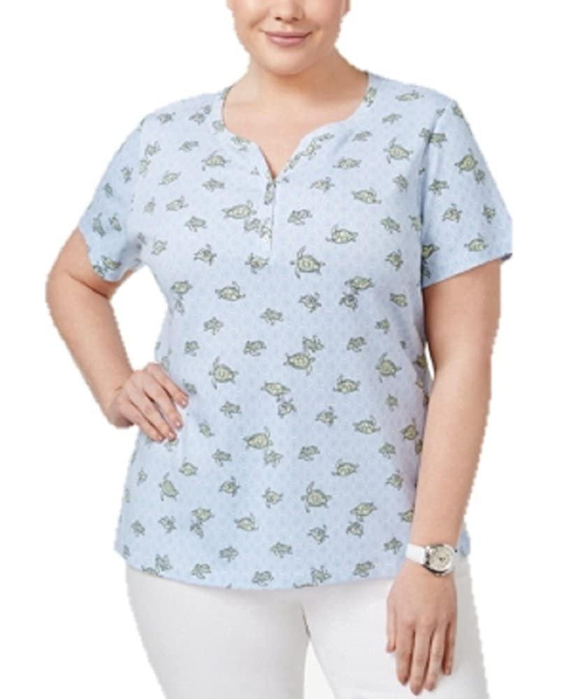 Karen Scott Plus Size Turtle Printed Henley T-Shirt