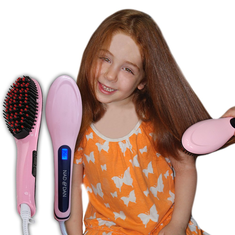 Professional Ceramic Hair Straightener Brush by NAD&DAN with Lock Buttons Option. Fast Detangling Electric Comb, Digital Display, Massage Straightening Anti Static Anti Scald. (Pink) Free Bonus