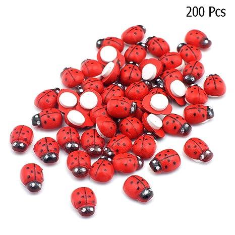 Uzinb 100pcs//Pack Ladybird Beetle Buttons Wooden Buttons