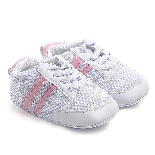 nuevo estilo 72658 60792 Nagodu Zapato Casual para Bebe niña, Tenis Deportivo Blanco con 2 Rayas  Rosas de Tela y Cintas, Super Suave, Varias Medidas