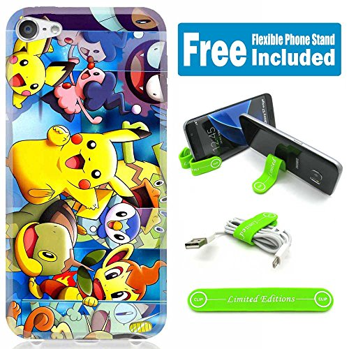 [Ashely Cases] Apple iPod Touch 5th/6th Generation Cover Case Skin with Flexible Phone Stand - Pokemon Pikachu Mirror - Ipod Touch Pokemon Case