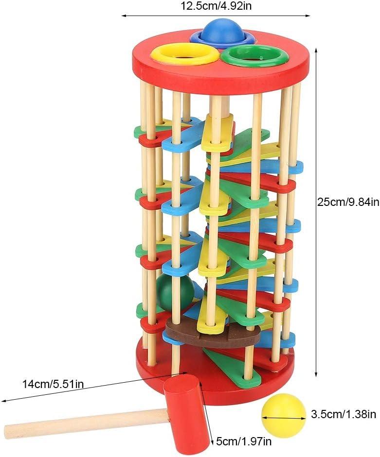Atyhao Giocattolo di Legno educativo precoce della Scala della Palla del Colpo di Legno colorato per i Bambini Regalo di Scuola Materna di Natale di Compleanno dei Bambini