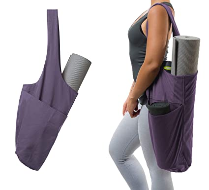 Gooteff Yoga Mat Bag Yoga Mat Tote Sling Carrier with Large Side Pocket & Zipper Pocket - Fits Most Size Mats
