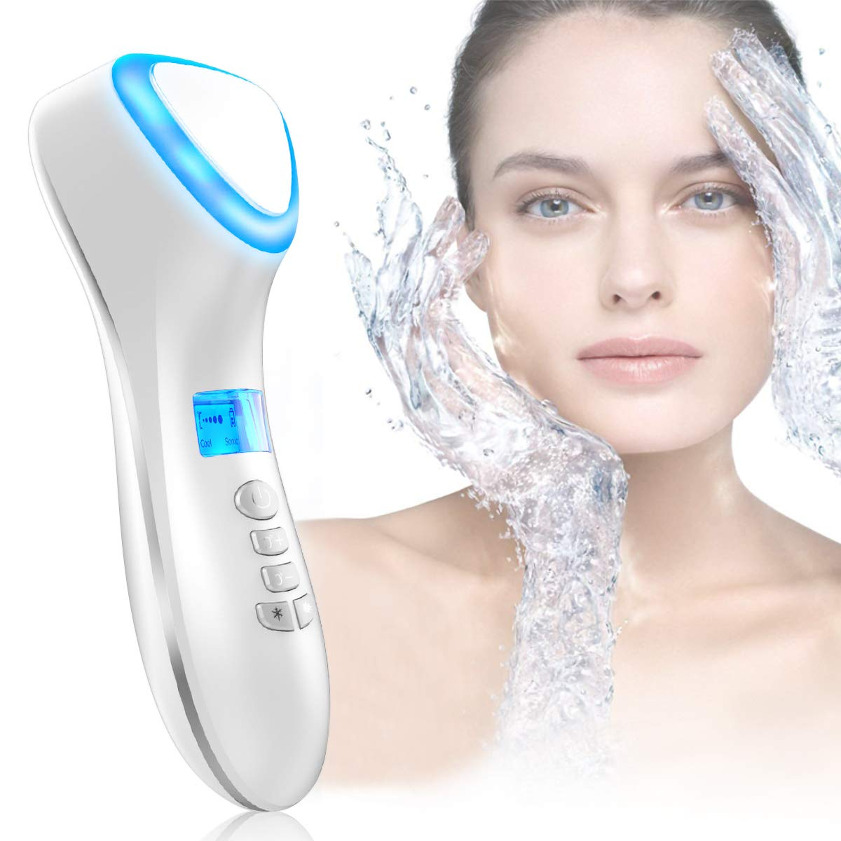 Facial Massager,Hot and Cool Skin Care Device, Portable Handheld Vibration Face Care Beauty Device,Skin Calm,Anti-Wrinkle,Promote Cream and Absorption(White) by Elgary