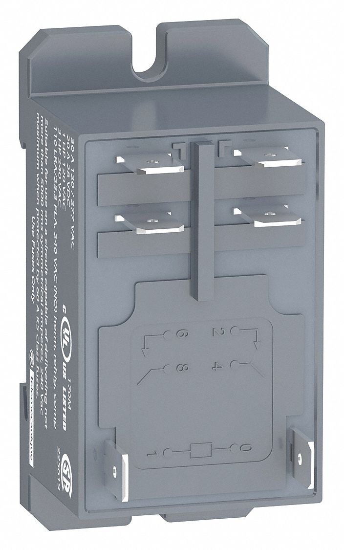 120VAC, 8-Pin Bottom Flange, Din Rail Enclosed Power Relay; Electrical Connection: 1/4'' Tab Terminal