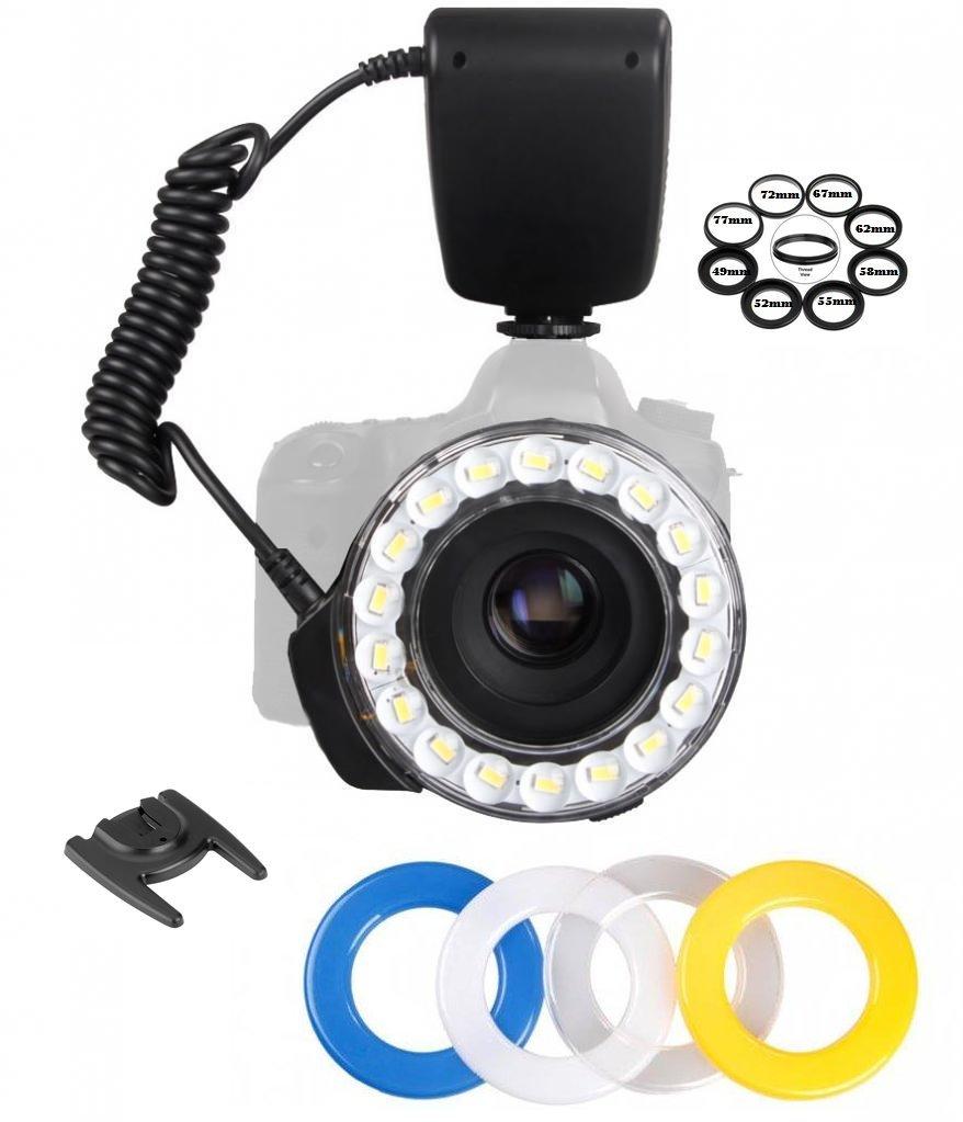 Ultra-Bright ''18-LED'' Ring Flash Light For Carl Zeiss, Fujifilm, Nikon, Panasonic, Pentax, Olympus, Samsung, Sigma, Tamron, Tokina, Lens 49mm, 52mm, 55mm, 58mm, 62mm, 67mm, 72mm, 77mm thread by HDStars