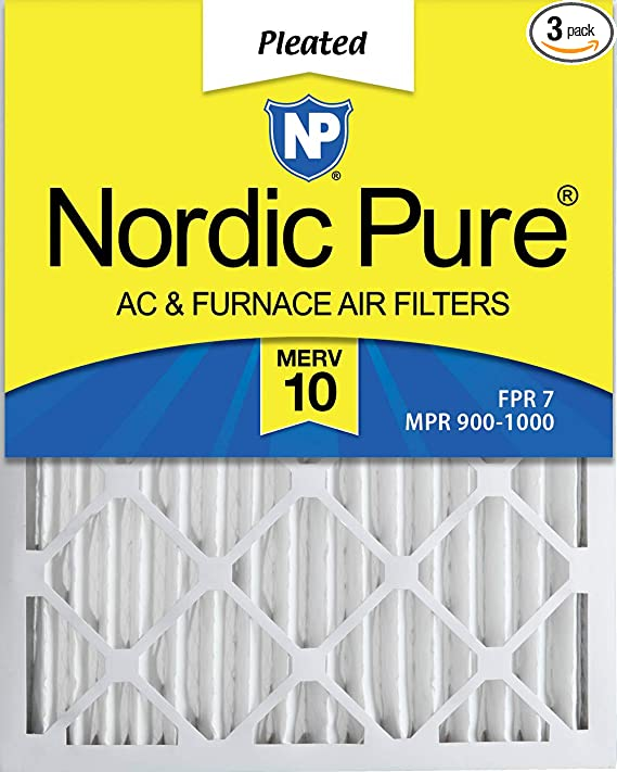 3 Piece Nordic Pure 18x25x1 MERV 8 Pleated Plus Carbon AC Furnace Air Filters 18 x 25 x 1