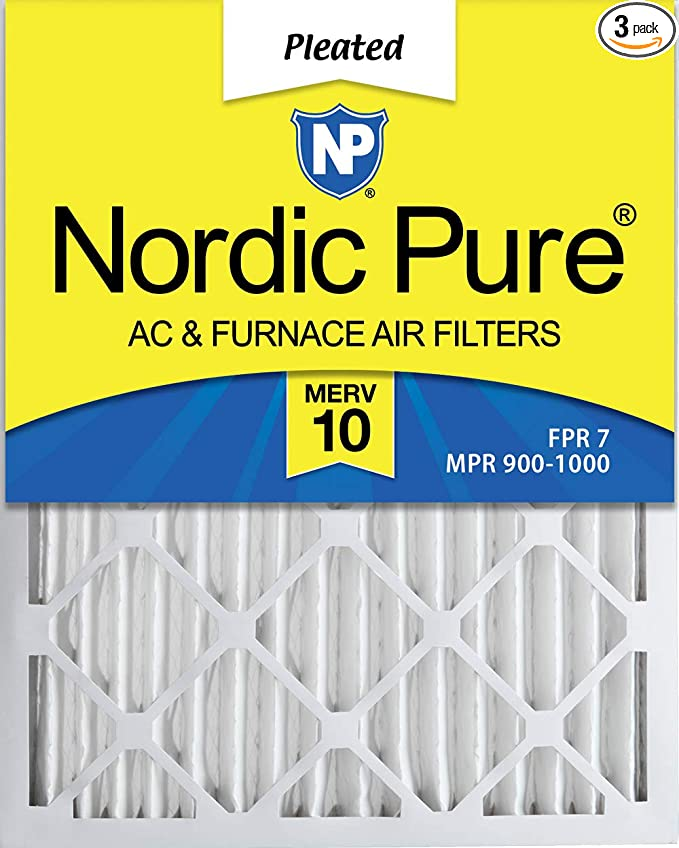 12 Piece Nordic Pure 20x25x2 MERV 8 Pleated Plus Carbon AC Furnace Air Filters 20 x 25 x 2