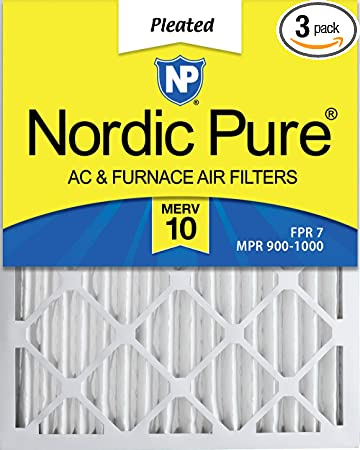 3 Pack Nordic Pure 10x20x2 MERV 14 Pleated AC Furnace Air Filters