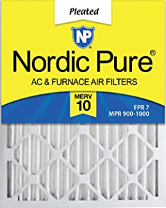 Nordic Pure 16x20x2 MERV 10 Pleated AC Furnace Air Filter, Box of 3