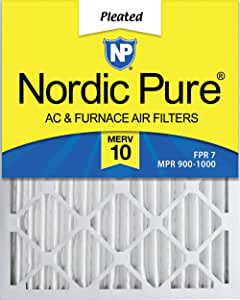 Nordic Pure 20x25x2 MERV 10 Pleated AC Furnace Air Filter, Box of 3