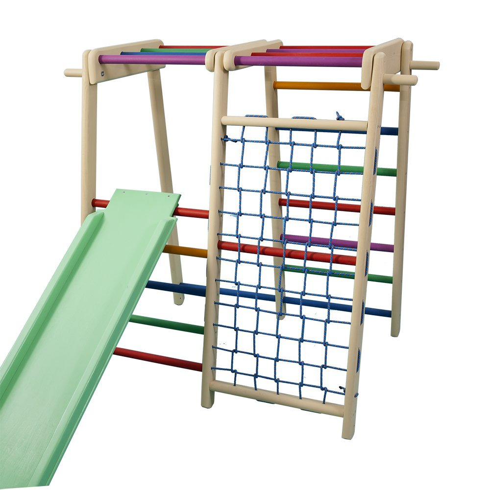 FunnyClouds Kinder Aktivitätsspielzeug Kletterturm mit Rutsche Fitboy bunt Spielcenter Spielplatz Klettergerüst Activity Fitness Center Motorik Freitzeitpark Adventure